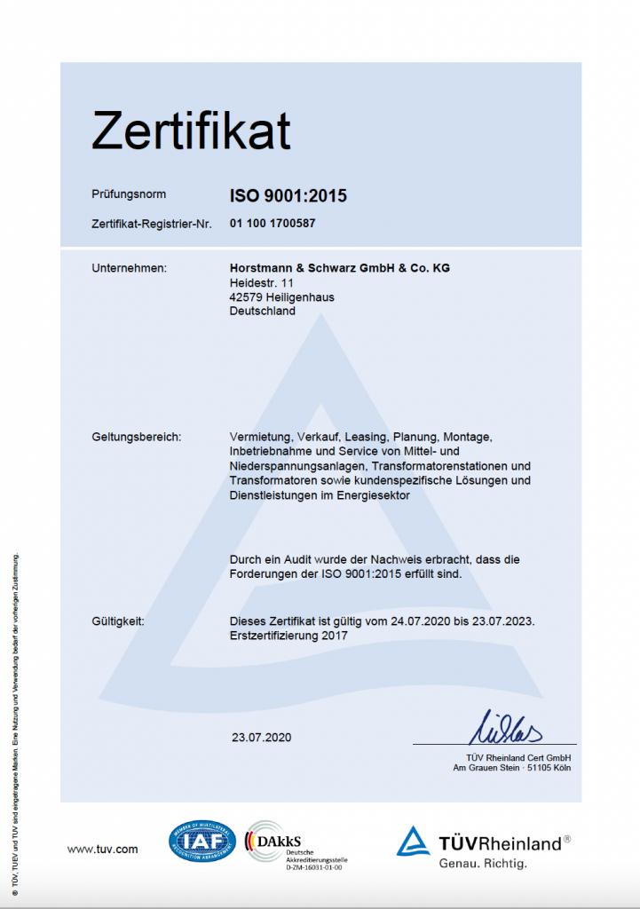 ISO 9001 Zertifikat Horstmann und Schwarz