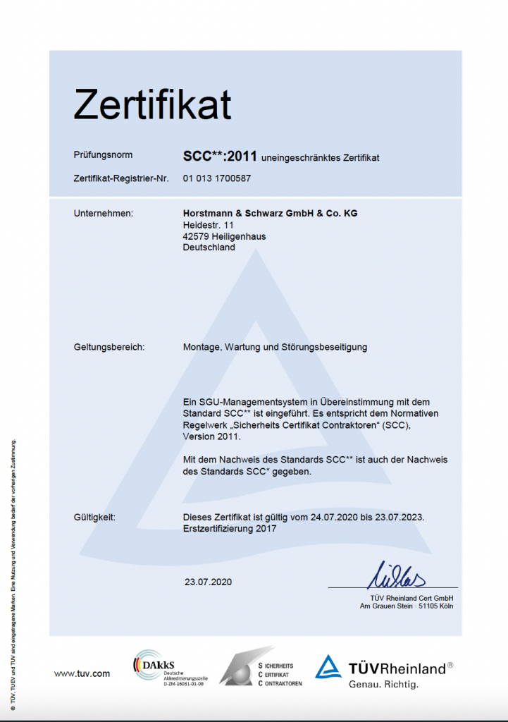 SCC** Zertifikat Horstmann und Schwarz